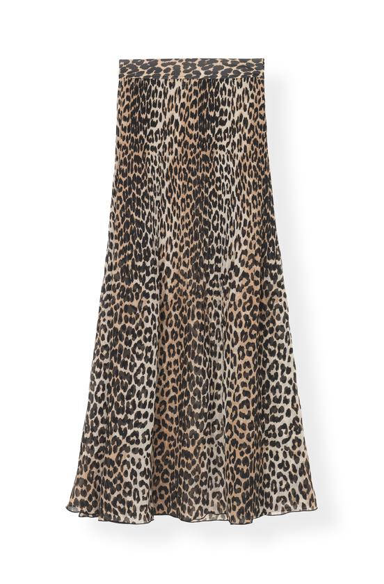 Ganni Ganni Maxi Nederdel F3763 Printed Georgette Leopard